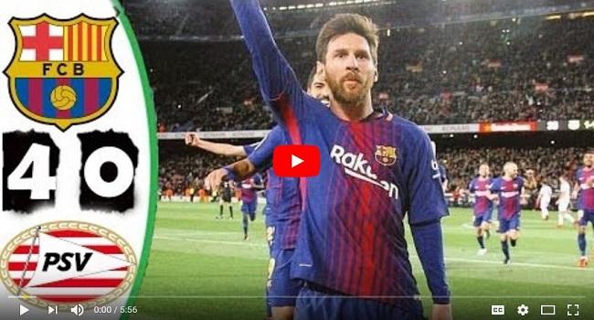 cuplikan gol barcelona vs psv 4-0