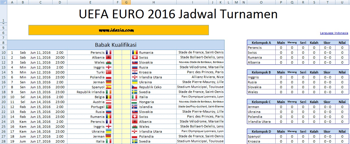 download jadwal euro 2016 perancis file excel xls idezia. Black Bedroom Furniture Sets. Home Design Ideas