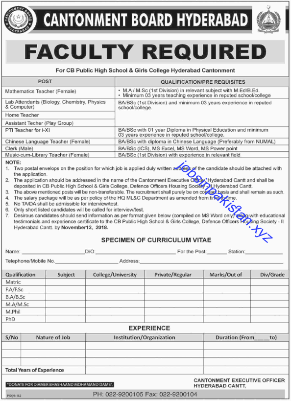 Advertisement for Cantonment Board Hyderabad Jobs 2018