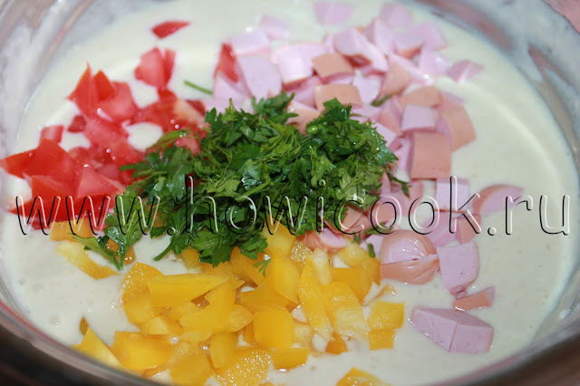 рецепт оладий с ветчиной, помидорами и болгарским перцем с пошаговыми фото