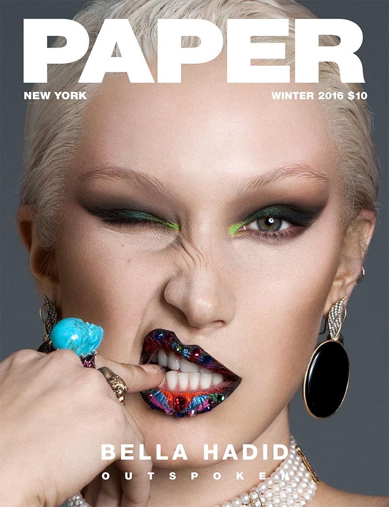 Bella Hadid en couverture du mag PAPER, éditionHiver 2016/2017 par Nicolas Moore