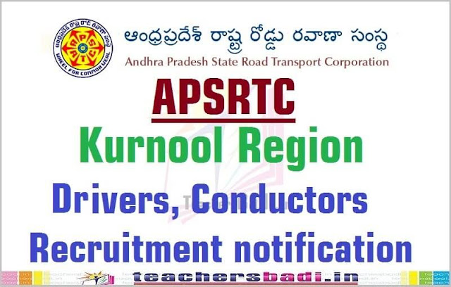 APSRTC,Drivers,Conductors Recruitment,Kurnool Region