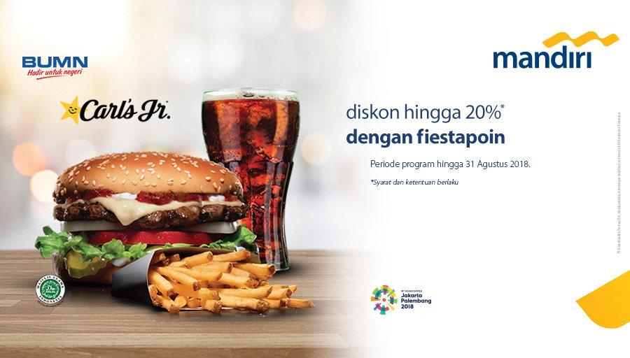 Bank Mandiri - Promo Diskon 20% di Carls JR Pakai Festapoin (s.d 31 Agustus 2018)