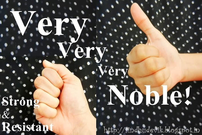 Clenched hand and thumbs up handsigns to symbolise strong, resistant and noble characters