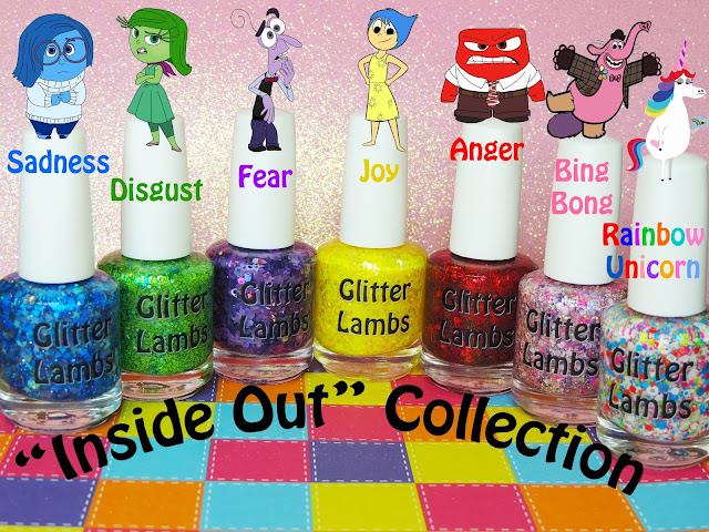 """Inside Out Nail Polish Collection- LIMITED EDITION** There is ONLY 1 and we WILL NOT....be making another one of these. As you know, the new movie """"Inside Out"""" was just released and I must say that this movie is """"HANDS DOWN"""" the BEST movie I have seen in a long time! I can't begin to tell you how much I adore every single one of the characters. But my favorite is BING BONG! I love that little guy!   So we decided to make ONLY 1 Limited Edition """"Inside Out"""" Nail Polish Collection. If your a big fan of this movie then this is a must have in your collection.   You will get 7 different glitter topper nail polishes in this collection.  1. SADNESS- a clear base filled with blue moons, blue stars, blue hex, blue dots, blue hearts, blue triangles and tons of blue micro glitter.  2. DISGUST- a clear base filled with large round holo turquoise dots, lime green micro glitter, green hex, green squares, and emerald micro glitter.  3. FEAR- a clear based filled with purple flowers, purple stars, purple hearts, large holo purple dots, purple shreds, purple squares, and tons of purple micro glitter.  4. JOY- a clear base filled with yellow flowers, yellow stars, yellow hex in different colors and sizes, white opal iridescent colored hex in many different sizes.  5. ANGER- a clear base filled with red micro glitter, short red bars, red circles, and red hex.  6. BING BONG- a clear based filled with hot pink hearts, hot pink stars, pink dots in many different sizes, holo silver glitter, light pink shreds, light purple shreds, light yellow shreds, light pink spades, tons of micro hex pink glitters.  7. RAINBOW UNICORN- a clear base filled with rainbow colored hex in different colors, white stars, white donuts, white hearts, white bows, and lots of white micro glitter."""