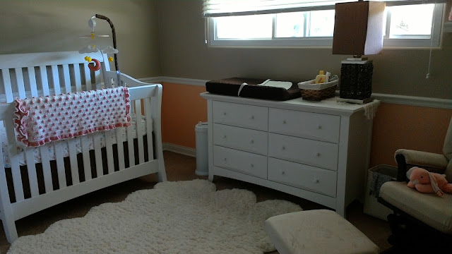 DIY peach and white baby girl nursery by linaandvi