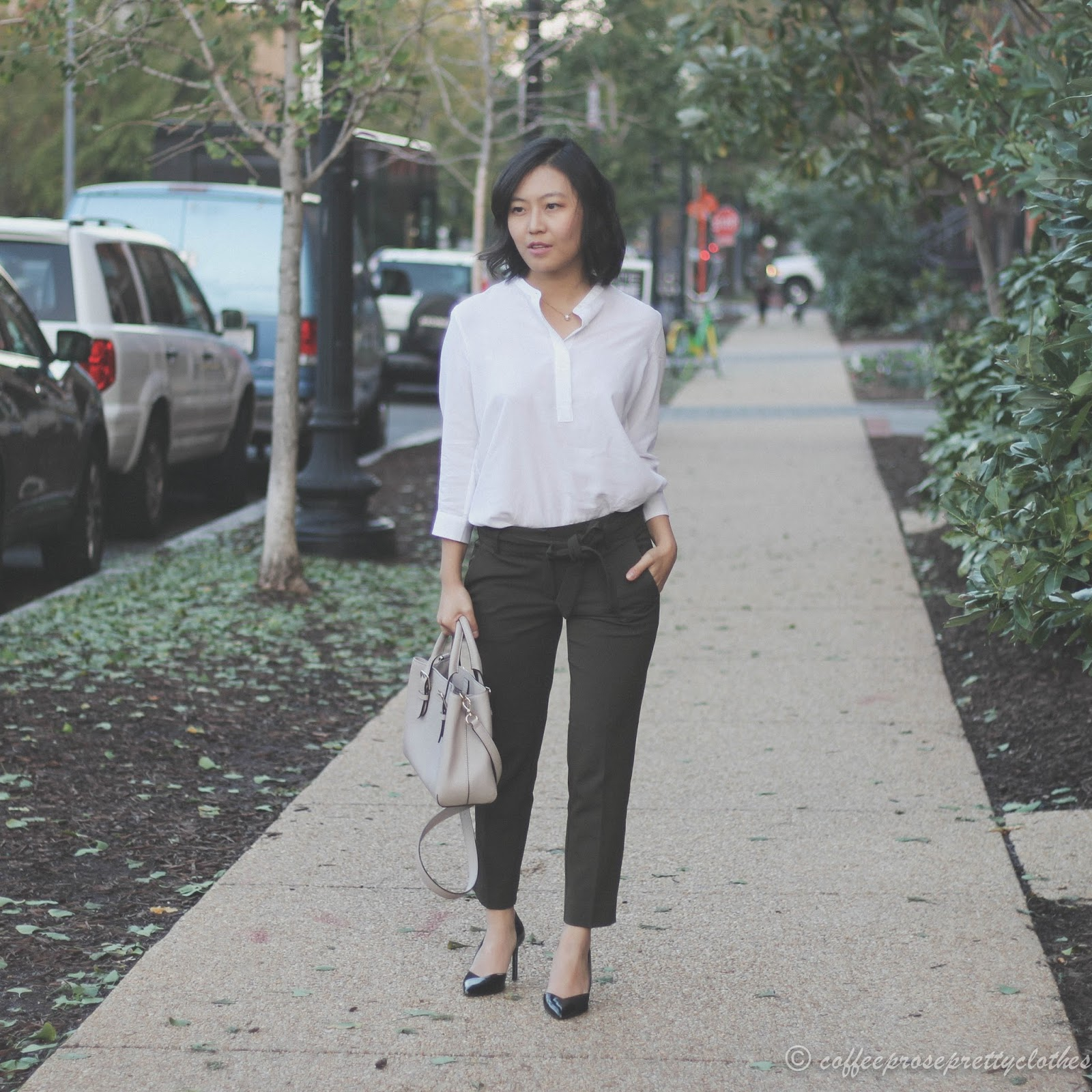 LOFT cropped trousers, Uniqlo rayon blouse, Kate Spade bag