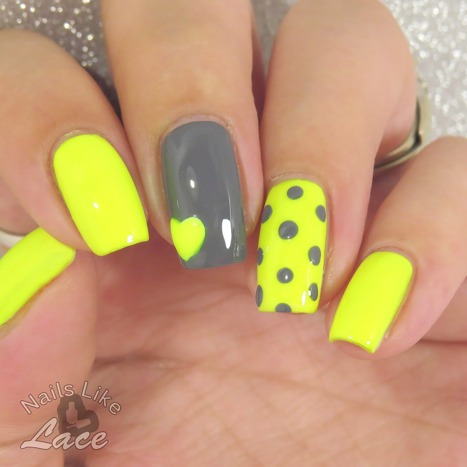 NailsLikeLace: Mommy\'s Mani Monday: Neon Yellow & Gray Dots and ...