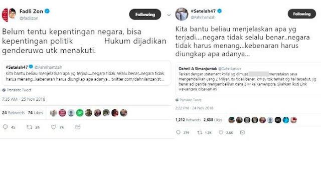 Fahri Hamzah Ajak Bantu Menjelaskan Kasus Dahnil Anzar, Fadli Zon: Hukum Dijadikan Genderuwo