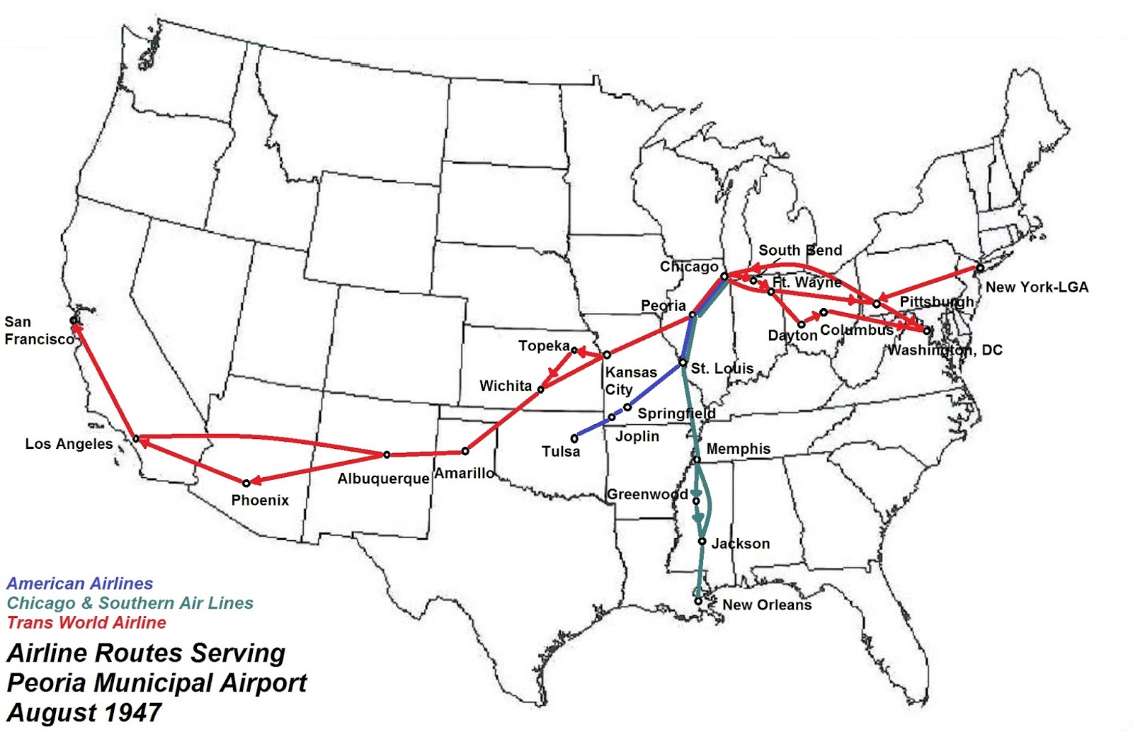 routes many cities shown are on one way routings but peoria travelers had same plane service links with los angeles albuquerque amarillo wichita