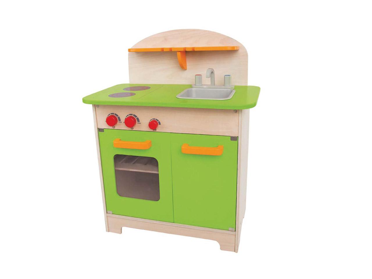 Ein Regalbrett Mit Schlitzen Zum Aufhängen Des Kochbestecks Rundet Die  Spielküche Ab. Die Küche Aus Naturholzs Spricht Alle Kinder An.