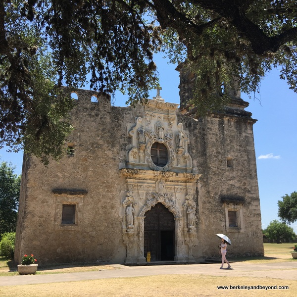 exterior of church at Mission San Jose in San Antonio Missions National Historical Park in San Antonio, Texas