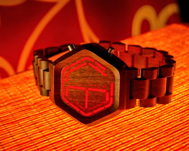 Tokyoflash Red-LED Wood Watch