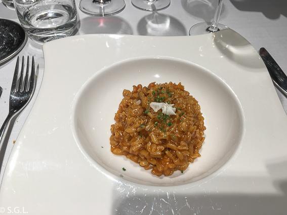 Arroz meloso de rape y su hígado. Restaurante Zarate. Bilbao