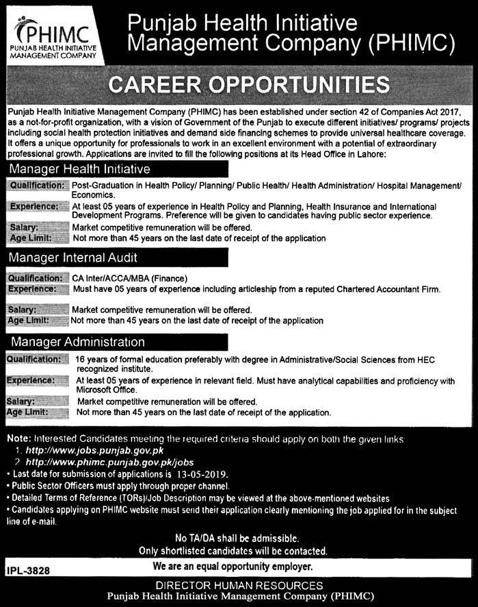 Punjab Health Initiative Management Company Latest Jobs