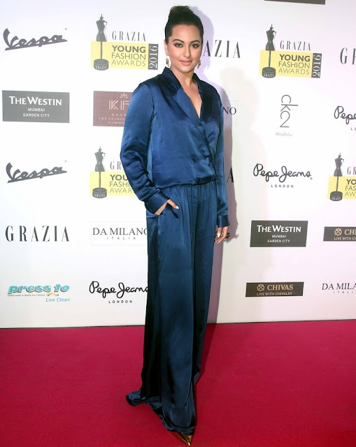 Actress Sonakshi Sinha In Blue Dress At Fashion Awards