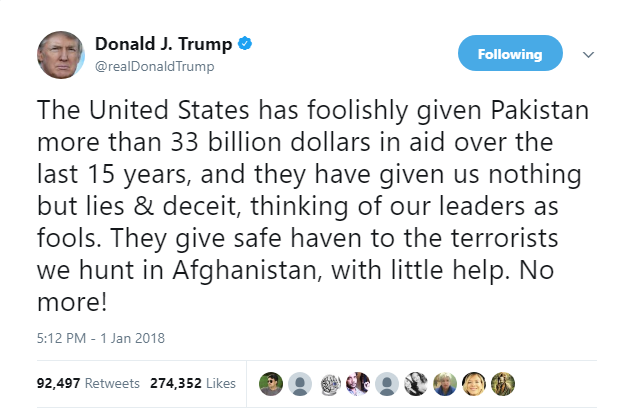donald trump tweet about pak