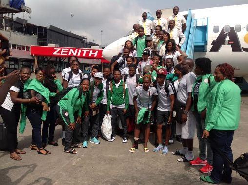 Photos: Female Champions Of Africa, Super Falcons Arrive Nigeria