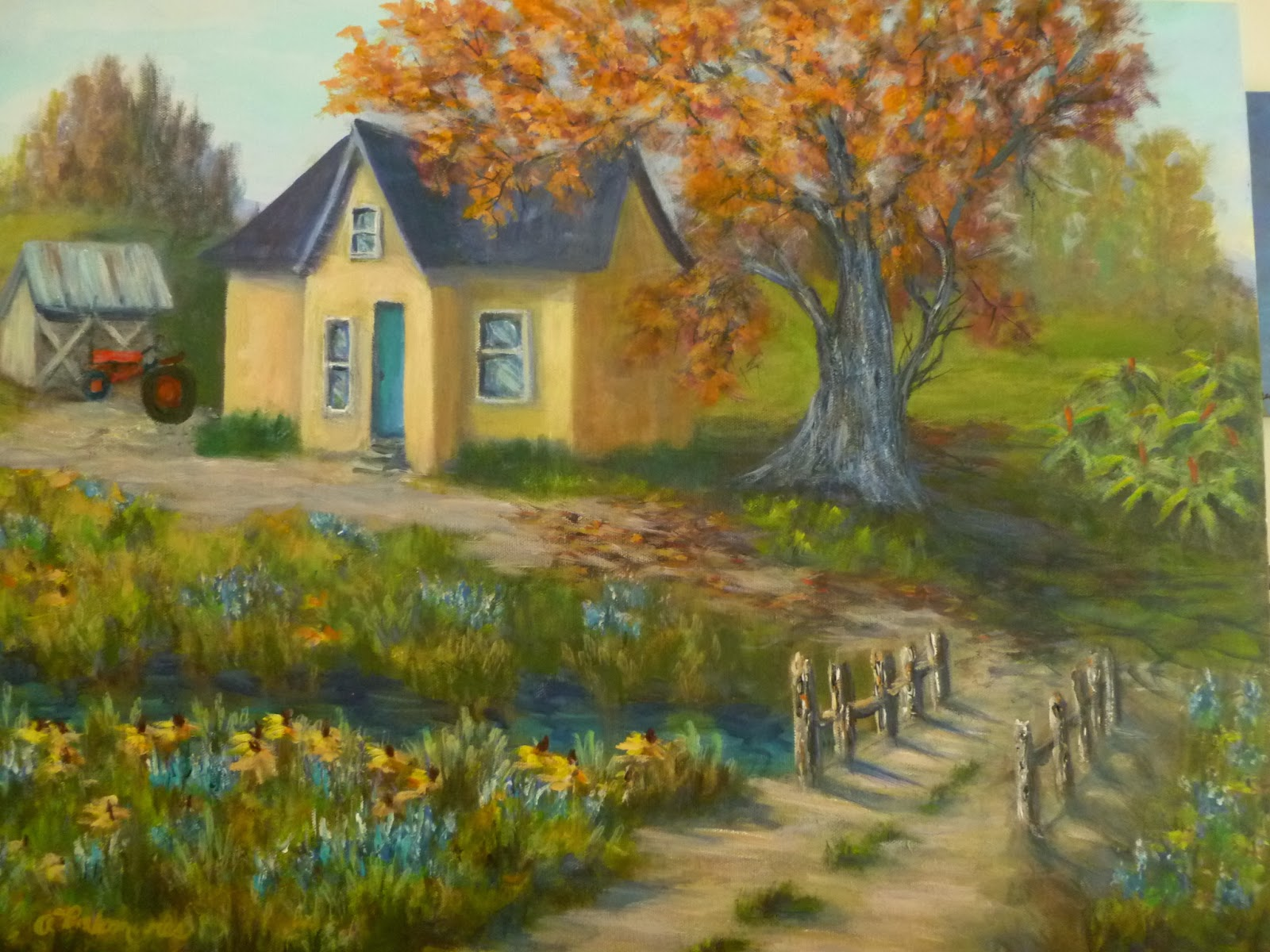 Country Farmhouse Painting Amber Palomares Fine Art