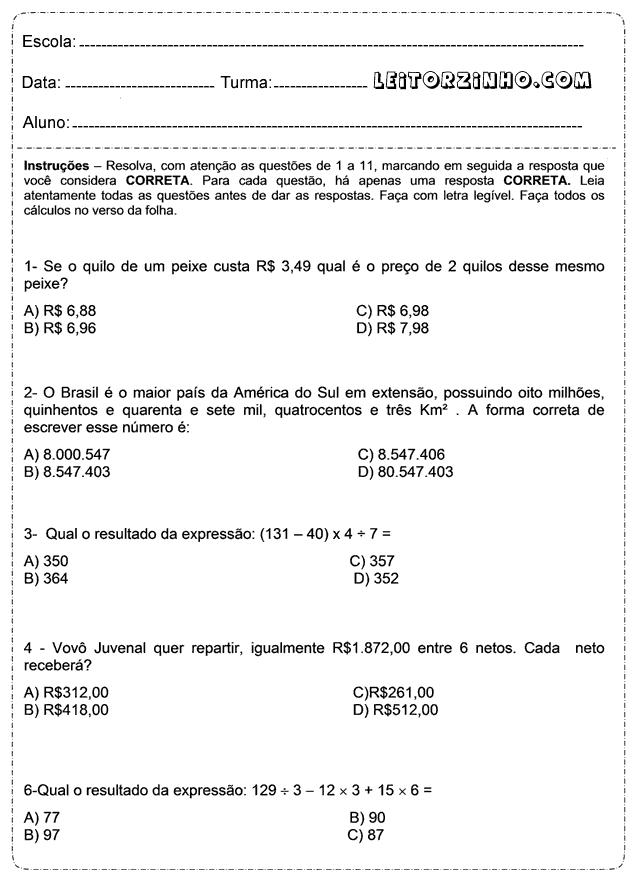 Atividades De Matematica 5 Ano Atividades Facil