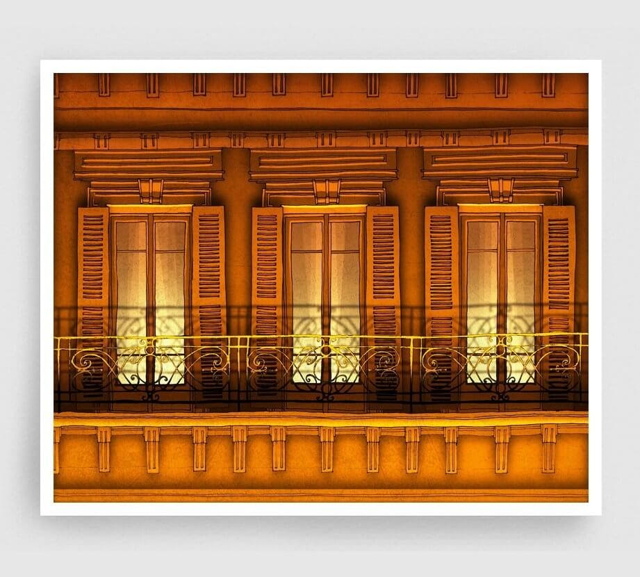 02-Paris-Balcony-Night-Version-Brigitta-Paris-Illustrations-Colorful-Architecture-www-designstack-co