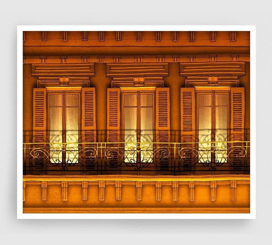 02-Paris-Balcony-Night-Version-Brigitta-Paris-Illustrations-Colorful-Architecture-www-designstack-co
