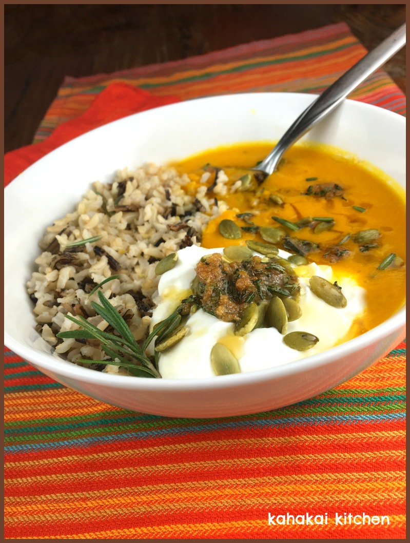 Kahakai KitchenSquash  Wild Rice Soup with Lemon-Ginger