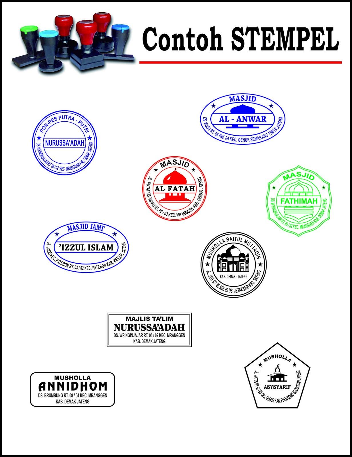 Gambar Contoh Sampel Desain Stempel Warna Cetak