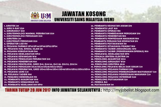 Jawatan Kosong di Universiti Sains Malaysia (USM) Jun 2017