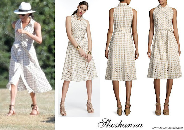 Meghan Markle wore Shoshanna Ashland Sleeveless Belted Gingham Eyelet Dress