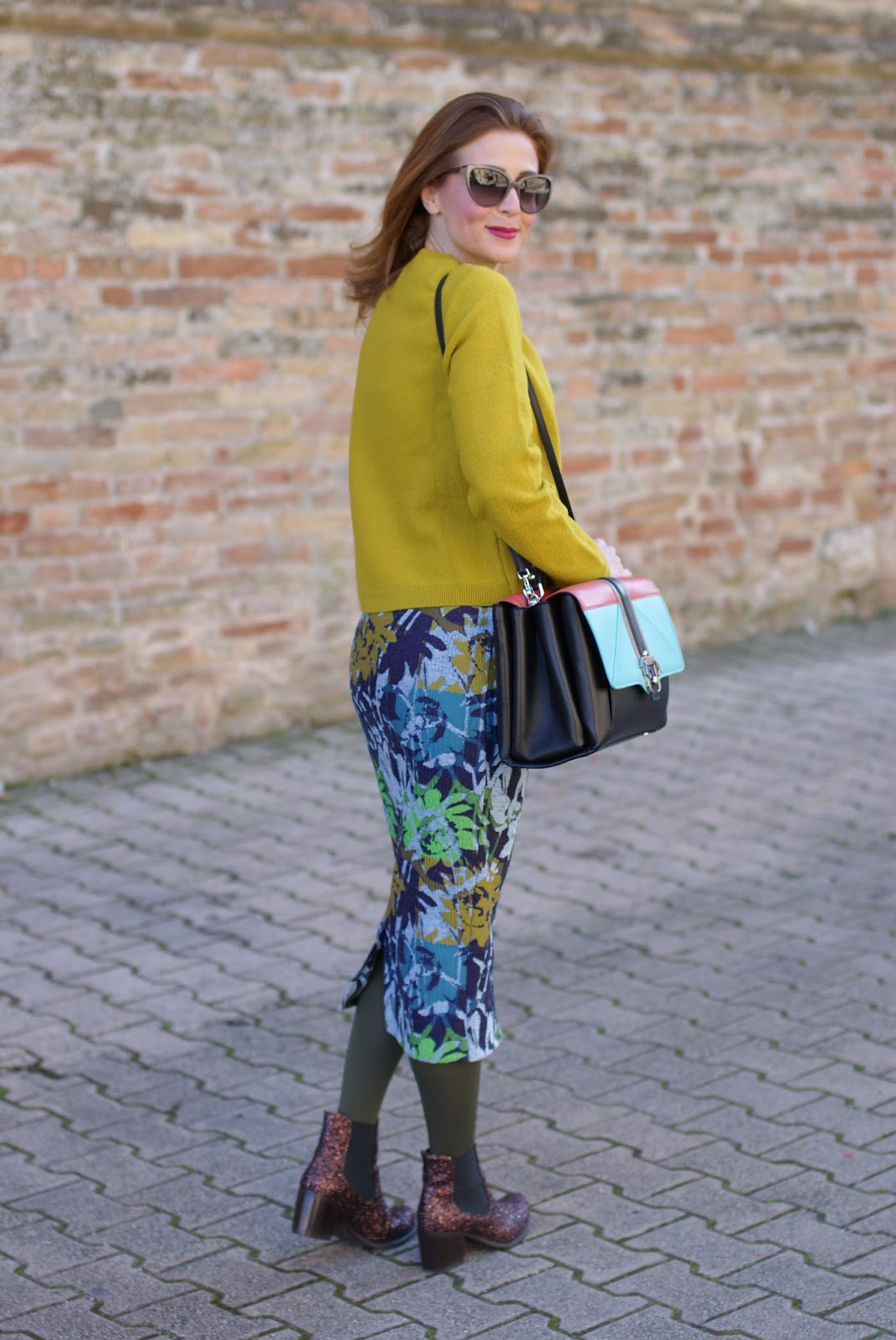 Lime yellow sweater and floral midi pencil skirt on Fashion and Cookies fashion blog, fashion blogger style