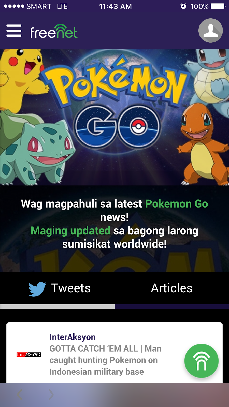 Get Pokemon GO updates with freenet