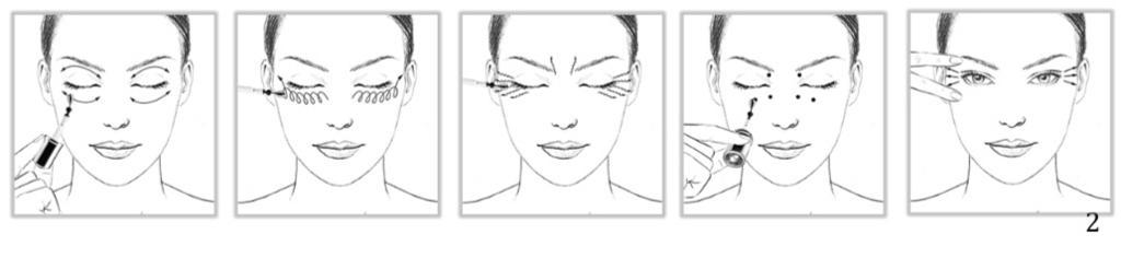89a7f43f9ea 三個專業按摩動作,針對解決重點問題,在匆忙的早晚,用冰鑽環迴按摩棒在眼睛上方及下方輕力向左右來回滑動,以簡單步驟讓眼睛重新注入活力,減淡眼袋,預防皺紋及細  ...