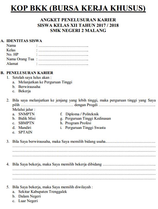 Angket Penelusuran Karier (BKK SMK)