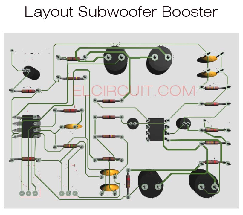 subwoofer booster circuit with pcb layout electronic circuit. Black Bedroom Furniture Sets. Home Design Ideas