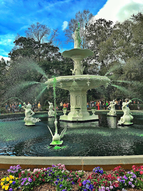 Forsyth Park in Savannah GA - fountain was dyed green for St. Patrick's Day!