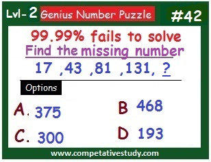 Number Puzzle: Find the missing number: 17, 43, 81, 131, ?