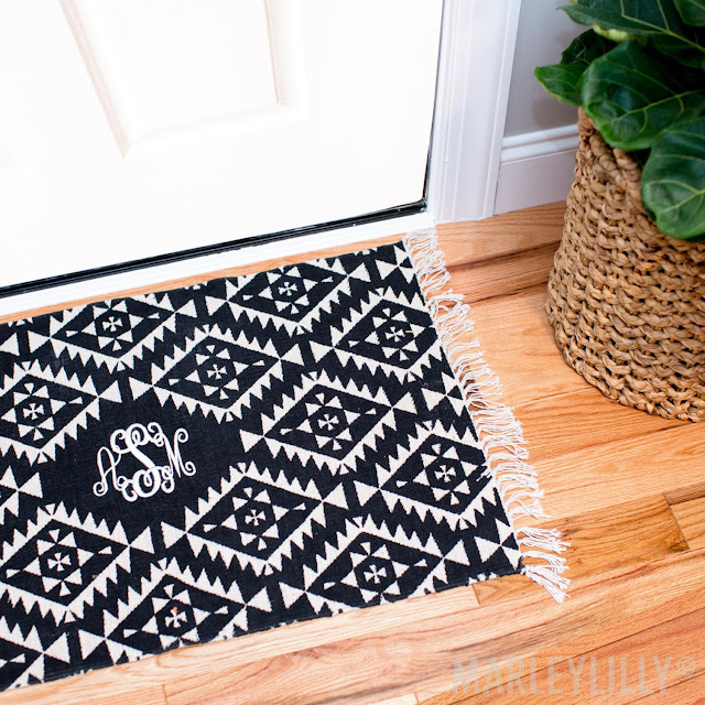 black and white door rug