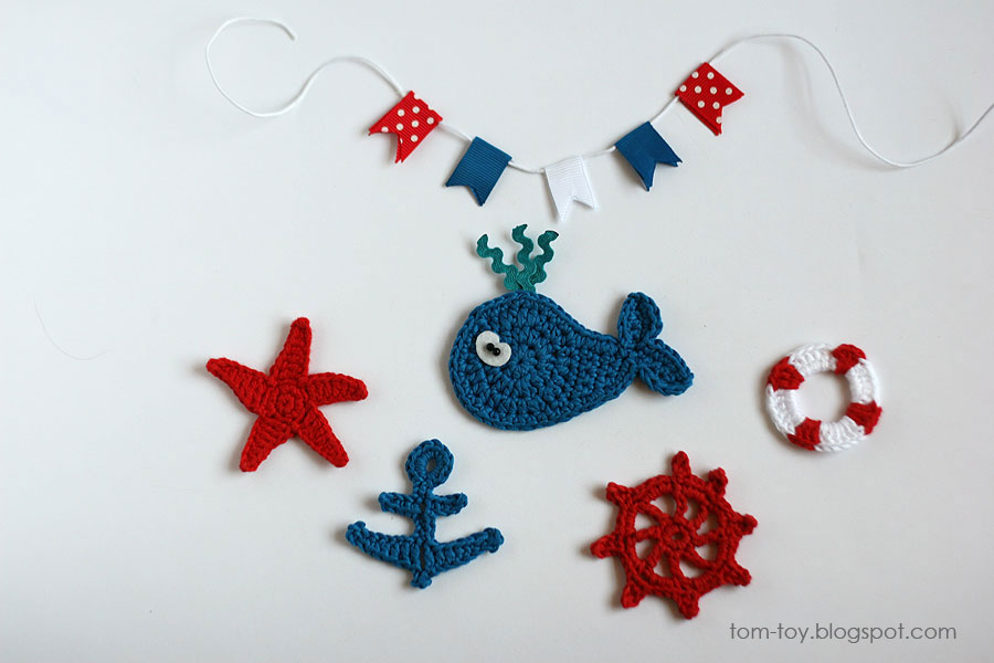 nautical crochet appliques, whale, anchor, life buoy, wheel, starfish, garland