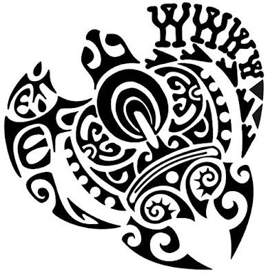 Triptych Turtle Maori tattoo stencil