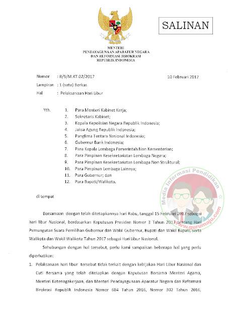 Pilkada Serentak, 15 Februari 2017 Ditetapkan Sebagai Hari Libur Nasional