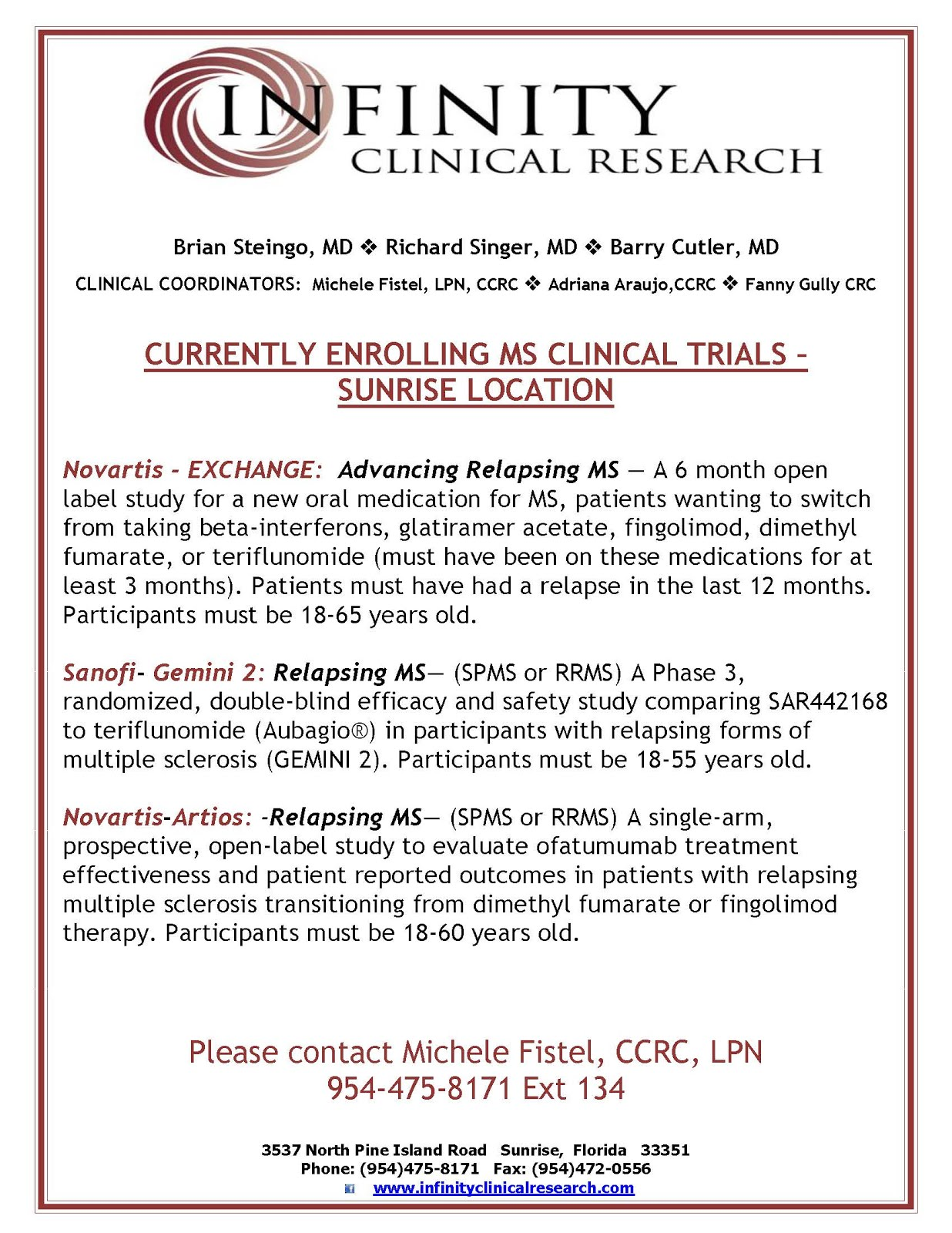 Infinity Clinical Research - Broward County, FL