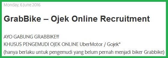 lowongan grabbike, lowongan grabbike khusus ubermotor dan gojek, pendaftaran grabbike untuk uber motor dan gojek
