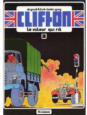 """couverture de """"CLIFTON T2 LE VOLEUR QUI RIT"""" de Turk, De Groot et Greg chez Le Lombard"""