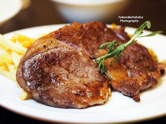 L'entrecote De Boeuf Chargrilled 200days Grain-Fed Angus Rib-Eye With French Fries & Brandy Cream Sauce RM 120
