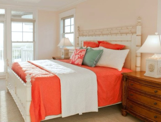 Coastal Coral and Beige Bedroom Design Idea