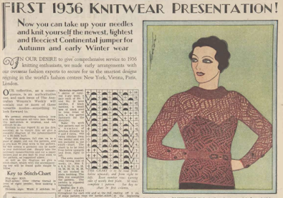 The Vintage Pattern Files: 1930s Free Knitting Pattern -  Continental Jumper