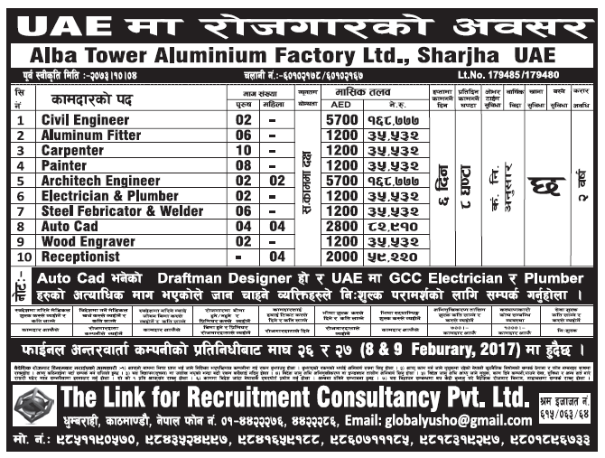 Jobs in UAE for Nepali, Salary Rs 1,68,777