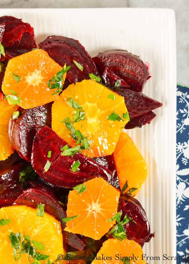 Beet Orange Salad with tarragon citrus vinaigrette recipes from Serena Bakes Simply From Scratch. Roasted beets with fresh oranges makes this a holiday favorite side dish for Thanksgiving and Christmas dinner.