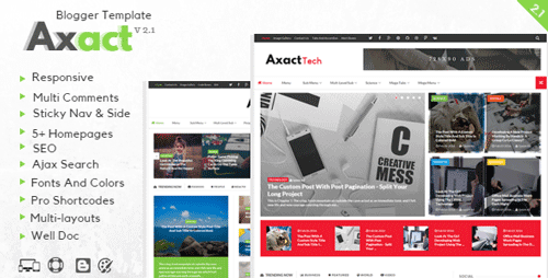 Responsive Magazine and Newspaper Blogger Theme Axact